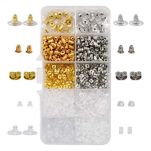 Yueser 1040 Piezas Pendientes Tapones Transparentes Plástico Silicona Tapas para Pendientes...