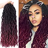 6 packs Gypsy Locs Crochet Goddess Faux Locs Ombre Curly Wavy Locs Twist Braiding Hair Extensions Dreadlocks Hair 18 inches for Braiding 18 Strands Per Pack(1b/99j/bug)