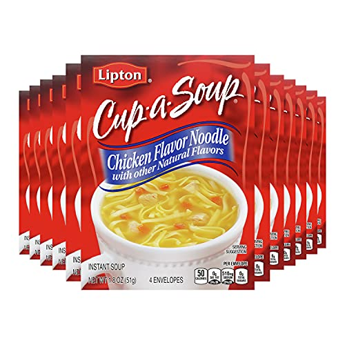 Lipton Cup-a-Soup Instant Soup For a Warm Cup of Soup Chicken Noodle Soup Made With Real Chicken Broth Flavor 1.8 oz 4 ct, Pack of 12