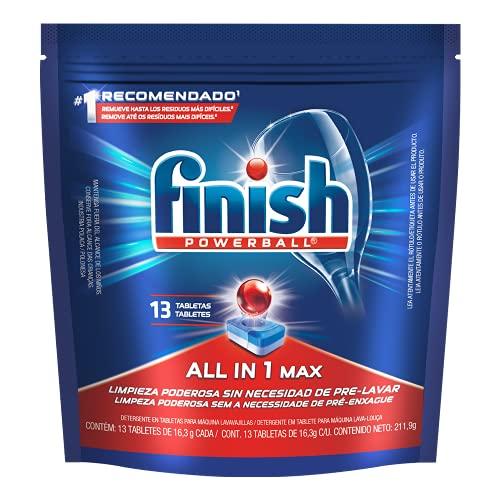 Finish Detergente Finish Powerball Para Lavavajillas 13 Tabletas De 18.1 G Con U, color, 13 count, pack of/paquete de