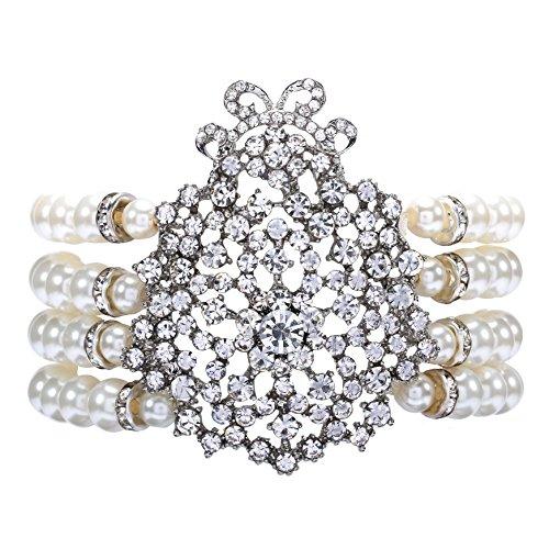 ArtiDeco 1920s Armband Perlen Damen Gatsby Kostüm Zubehör Blinkende Kristall Armreif 20er Jahre Accessoires für Damen (Stil 1-Weiß)