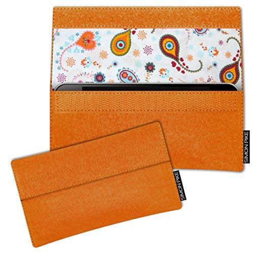 SIMON PIKE Hülle Tasche kompatibel mit Samsung Galaxy S8 Active | Filztasche Newyork in 10 orange aus Filz (echtem Wollfilz) Handyhülle