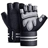 "Trideer Ventilated Workout Gloves Men & Women, Gym Gloves, Weight Lifting Gloves with 19"" High Elastic Wrist Strap, Suit for Fitness, Cross Training (Black, XL (Fits 8.6-9.25 Inches))"