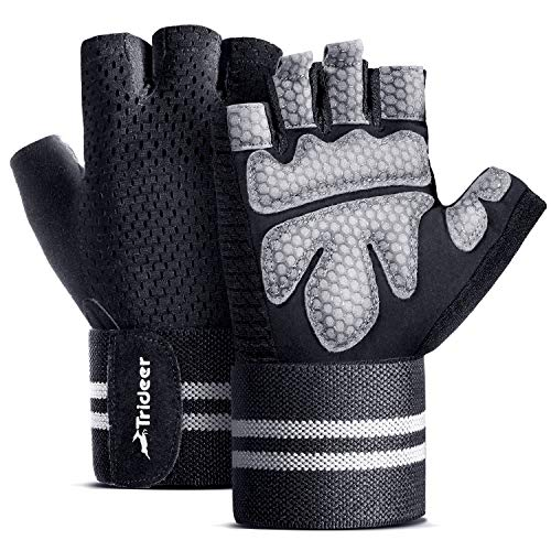 """Trideer Ventilated Workout Gloves Men & Women, Gym Gloves, Weight Lifting Gloves with 19"""" High Elastic Wrist Strap, Suit for Fitness, Cross Training (Black, L (Fits 7.9-8.6 Inches))"""