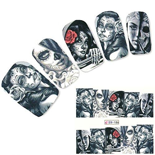 JUSTFOX - Tattoo Nail Art La Catrina Day of the Dead Dia de Muertos