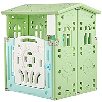 Albott Child Playhouse Cape Cottage Plastic Toddler Game Play House, Indoor & Outside Cabin House, Children Playset Toys(Green)