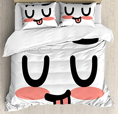 Lunarable Kawaii Bettbezug-Set, Japanische Inspirationen in Doodle Happy Smiley Face Kawaii Cartoon Zeichnung Dekorative 3-teiliges Bettwäsche-Set mit 2 Kissenbezügen Queen Size, Schwarz Rosa