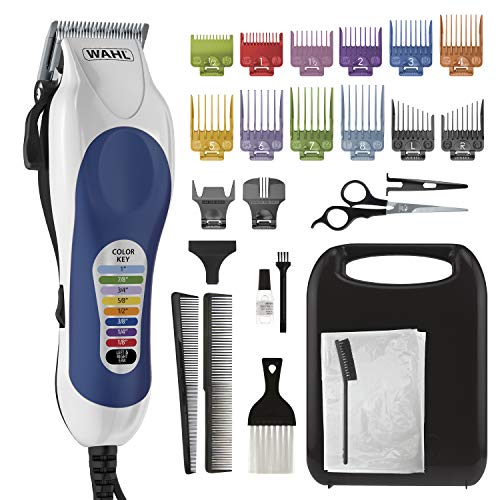 Wahl Corded Clipper Color Pro Complete Hair Cutting Kit for Men, Women, & Children with Colored Guide Combs for Smooth, Easy Haircuts - Model 79300-1001