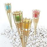 Fachhandel Plus Bambusfackeln 4er Set mit Kerzenglas gelb grün brombeer Petrol Gartenfackeln 30 cm Duftkerzen Echtwachskerzen Gartendeko