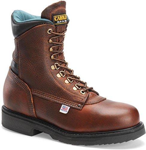 """Carolina Men's Domestic 8"""" Plain Toe 809,Amber Gold Leather,US 13 D"""