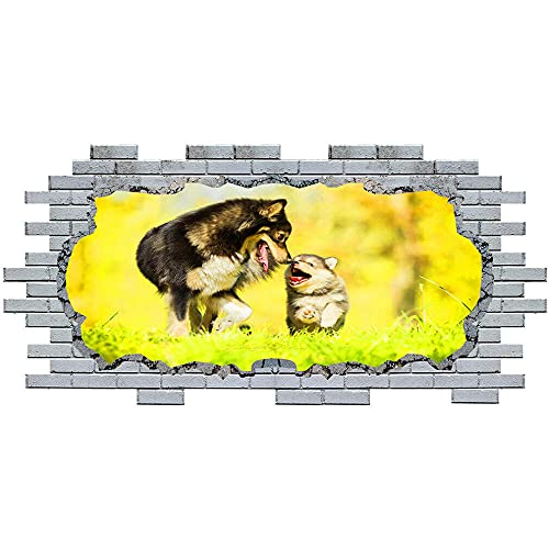 Pegatinas de pared Wall Stickers Dog Puppy Animal Love Vinyl Decal 3D Art Hole Room S328