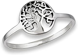 Oxidized Filigree Tree of Life Ring New .925 Sterling Silver Band Sizes 4-9