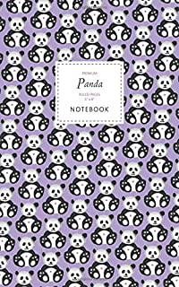 Panda Notebook - Ruled Pages - 5x8 - Premium: (Purple Edition) Fun notebook 96 ruled/lined pages (5x8 inches / 12.7x20.3cm...