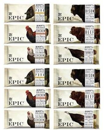 Epic Bar Sampler 6 variety- (2 Bison Bacon Cranberry,2 Beef Habanero Cherry, 2 Chicken Sriracha , 2 Turkey Almond Cranberry, 2 Pulled pork Pineapple, 2 Chicken Sesame BBQ)