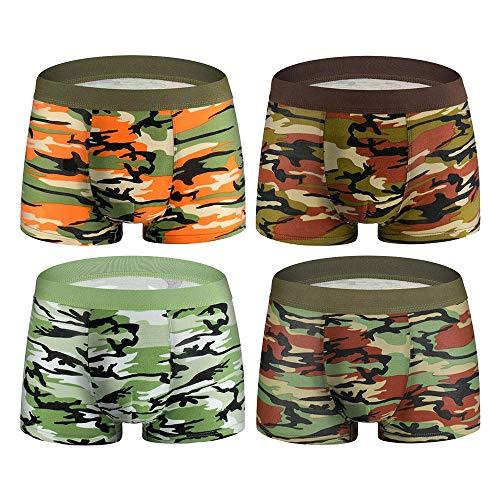 Gusspower 4er Pack Herren Unterhosen Baumwolle Camouflage Boxershorts Briefs Shorts Pouch Soft Knickers Unterwäsche Neu L-3XL (Mehrfarbig, XXL)