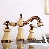 XYSQWZ Rose Gold Clour 8 Zoll weit verbreitet 3 Stück Badezimmer Toilette Waschbecken Wasserhahn Mischbatterie Jade Stein Wasserhahn