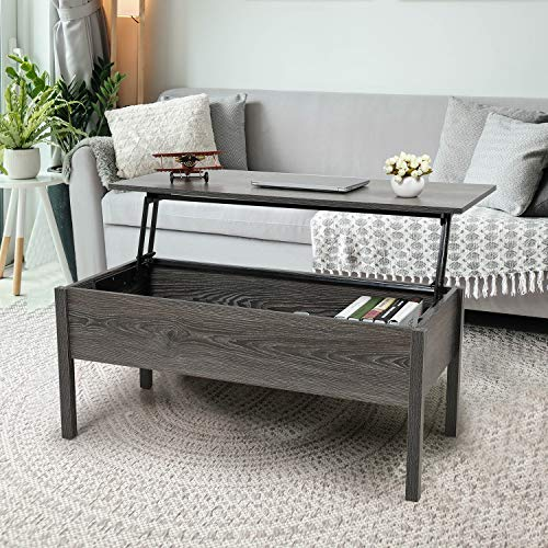 JAXPETY Lift Top Coffee Table with Hidden Compartment and Storage Cabinet, Modern Furniture for Home, Living Room, Reception Room, Grey Oak