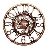 Reloj de pared al aire libre, reloj de jardín, Taodyans 30,48 cm, resistente al agua, relojes de cuarzo con pilas, relojes retro para decoración de la sala de estar, no silencioso (cobre)