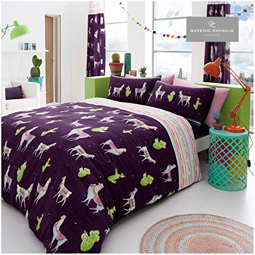 Gaveno Cavailia Luxurious LLAMA Bed Set with Duvet Cover and Pillow Cases, Polyester-Cotton, Multi, Double