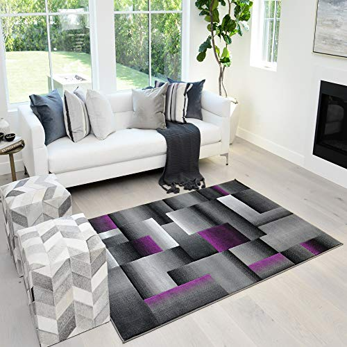 Squares Pattern Purple and Grey Area Rug