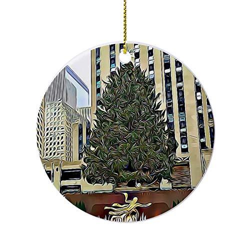Christmas Ornaments, Nyc Rockefeller Tree Skating Rink Round Ornament, Ceramic Keepsake Decoration Ornament