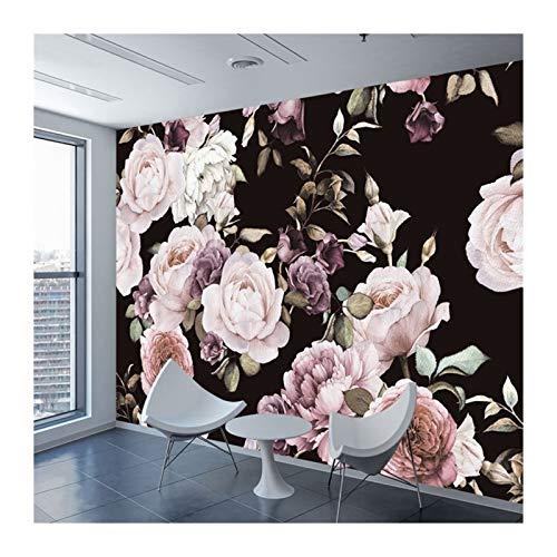 HYCSP Fototapete Mural Hand Painted Black White Rose Pfingstrose-Blumen-Wand-Wand Wohnzimmer Wohnkultur Malerei Wand-Papier (Color : A)