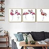 Póster europeo pintura en lienzo de flamenco rosa para sala de estar dormitorio de niña decoración de pared imagen artística póster impreso obra de arte / 30x30cmx3 sin marco