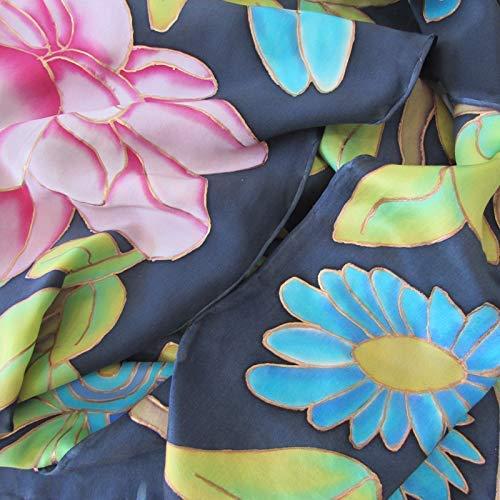 Fular de satén de seda Flores sobre fondo negro