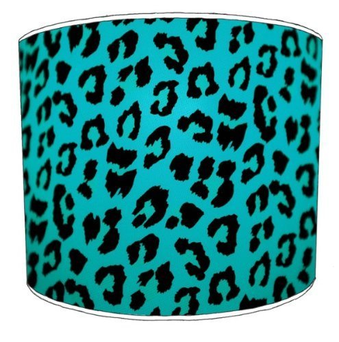 Premier Lampshades - 8 Inch Ceiling Blue Leopard Animal Print Lamp Shades