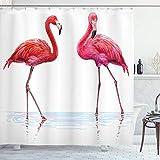 ABAKUHAUS Tier Duschvorhang, Exotische Flamingos on Sea, Leicht zu pflegener Stoff mit 12 Haken Wasserdicht Farbfest Bakterie Resistent, 175 x 180 cm, Orange Lavendel