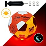 NIGHTMATCH Light Up Football - Kids Edition - INCL. BALL PUMP and SPARE BATTERIES - Inside LED lights up when...