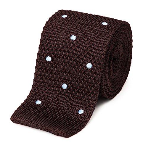 Bruce Field - Cravate fine en maille tricot de pure soie à pois
