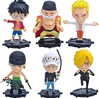 Set of 6 Pieces Mini One Piece Action Figures model with Rudder Stands Luffy, Zoro, Sanji, Whitebeard, Doflamingo & Trafal...