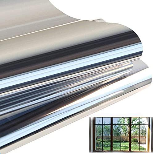Spiegelfolie Fenster Sichtschutz Selbstklebend Fensterfolie Wärmeisolierung Reflektierende Dachfenster Folie Sonnenschutzfolie UV-Schutz Innen oder Außen für Haus Geschäfte Büro (Silber, 40 x 400 cm)