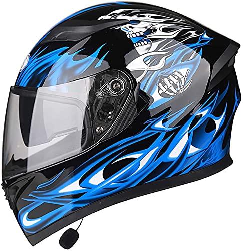 YCRCTC Casco de motocicleta Bluetooth integrado, certificación DOT/ECE antirreflejos, doble visera modular para bicicleta de motocross para hombres y mujeres adultos, manos libres, MP3 y FM