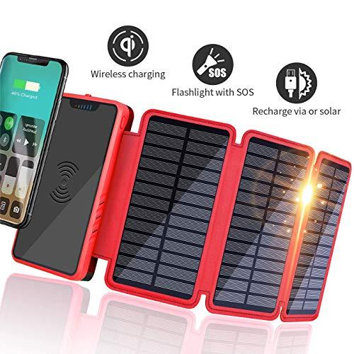 Soluser Wireless Solar oplader 20000mAh powerbank met 3 zonnepanelen & sterke LED-zaklamp draagbare externe accu voor smartphones/mobiele telefoons