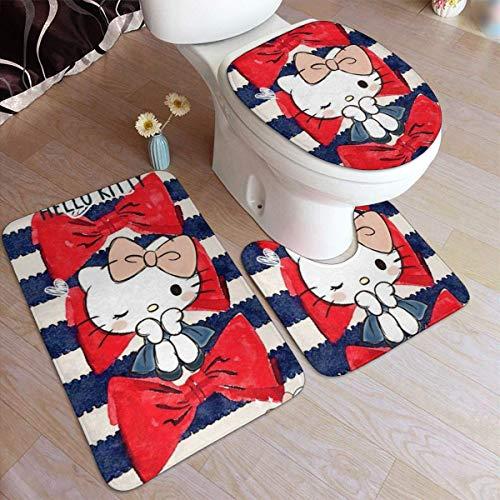 huancheng Juego de alfombrillas de baño de 3 piezas, elegante estampado Princ Hello Kitty + alfombra de baño antideslizante + alfombra contorneada en forma de U + tapa para inodoro