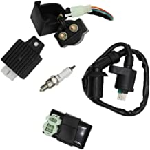 CNCMOTOK AC CDI Ignition Coil Relay Voltage Regulator Spark plug for Tomberlin Crossfire 150R Spiderbox 150cc Go karts Parts GY6 150cc Engine Scooter Moped Hammerhead GTS American Sportworks 150