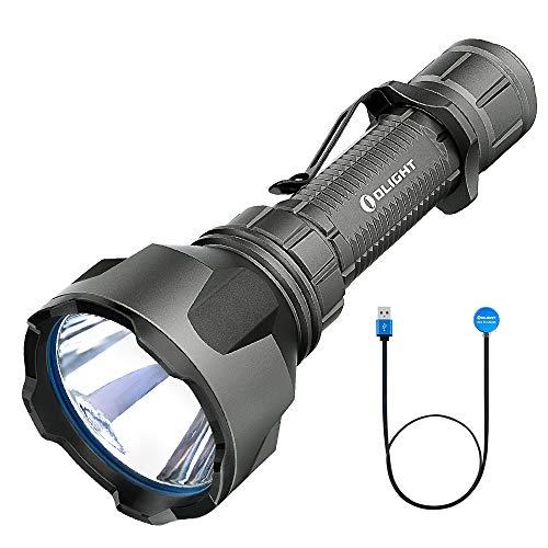 OLIGHT Warrior X Turbo - Linterna LED (1100 lúmenes, alcance de 1000 m, linterna táctica, recargable con cable magnético MCC3, batería 21700, 5000 mAh)