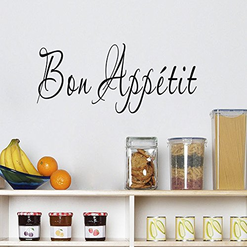 BIBITIME English Word Art Sayings Bon Appetit Wall Decal Quotes Sticker for Kitchen Tile Cabinet Restaurant Window Dining Room Living Room Porch