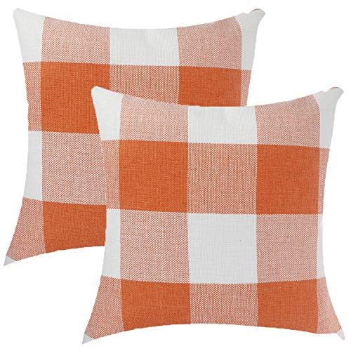 WWmily 2 Pieces Pillow Covers Pillow Cushion Covers Pillowcase Cover Pillowcases Plaids Flax Pillow Protector for Home Decor (Orange)