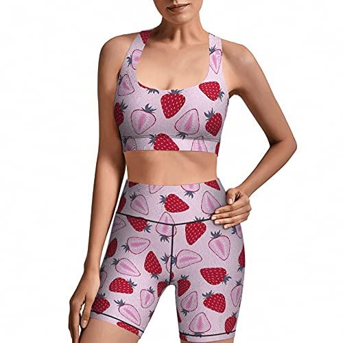 AuHomea Strawberry - Set da 2 pezzi per yoga, da donna - - Small