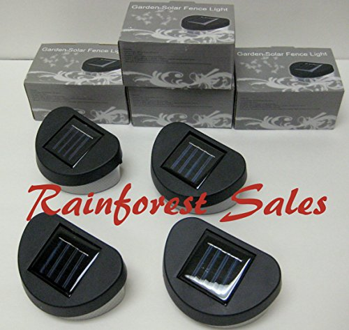 4- Pack Outdoor Solar Power 2 LED Wall Mount Garden Fence Lights -Black Color