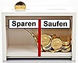 Divertida hucha para ahorrar – Saufen de madera en color blanco – El dinero se desliza solo por un lado – Regalo de dinero para hombres + mujeres a los que les gusta beber
