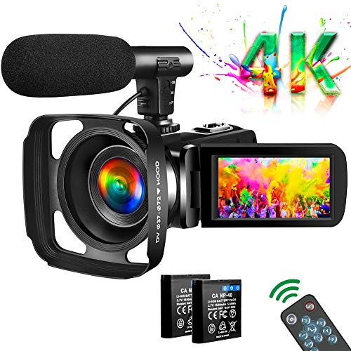 Video Camera 4K Camcorder Vlogging Camera for YouTube UHD 30M 30FPS Digital Zoom Camcorder 3 In...