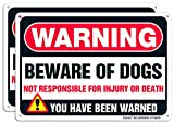 Beware Of Dog Sign,Faittoo 2 Pack Large 10 x 7 Inches Thick 0.40 Rust Free Heavy Duty Aluminum - UV Printed - Fade Resistant - Reflective - Indoor or Outdoor Use - Easy To Mount