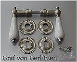 Graf von Gerlitzen Antik Messing Nickel Tür Griffe Türgriffe Türbeschlag Türdrücker Rosetten BB Porzellangriff N6N