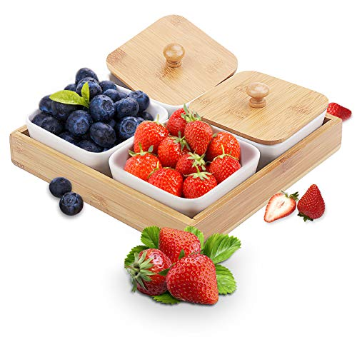Ceramic Snack Serving Tray 4-Compartment Tray Serving Platter with Bamboo Lid and Pallets,Moisture-proof Bowls for Food,Snacks,Condiments, Appetizers
