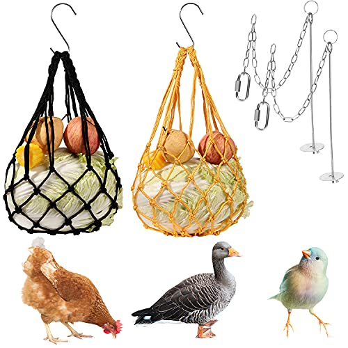 Chicken Vegetable String Bag, Poultry Fruit Holder Chicken Feeding Toy Treat Feeding Tool with Hook for Hen Goose Duck
