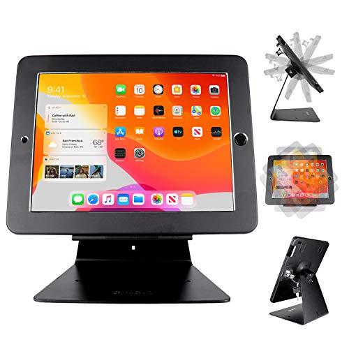 "CarrieCathy Desktop Anti-Theft Security Kiosk POS Stand Holder Enclosure for 10.2"" 2020 iPad 8th Gen & 2019 iPad 7th Gen, Flip & 360° Swivel Design"